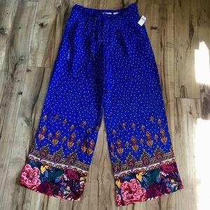 Anthropologie ett:twa Blue Motif Wide Leg Pants, 8
